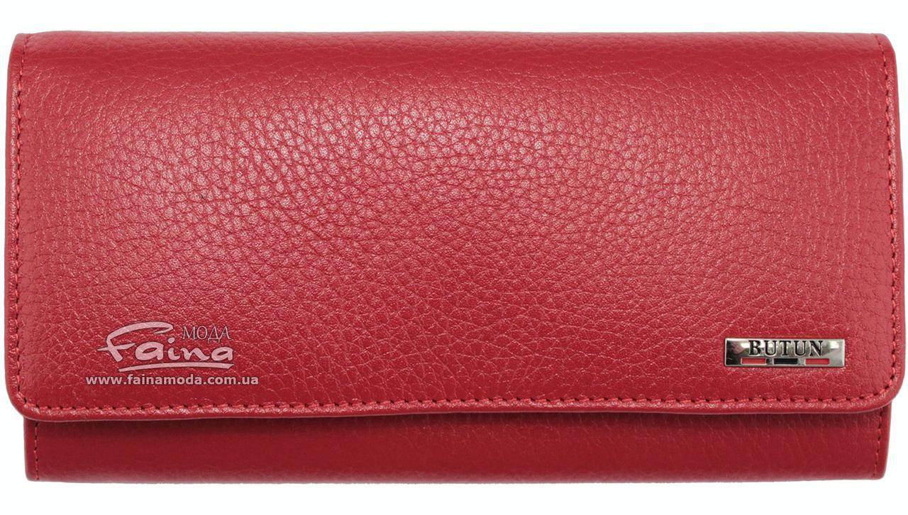 Женский кошелек кожаный красный Butun 592-004-006
