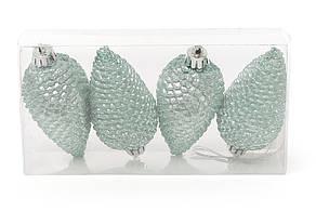 Набор шишек, 8см, цвет - эвкалипт, матовый с глитером, 4шт 147-948