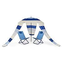 Садовое пляжное кресло шезлонг туристическое 2 +1 зонт