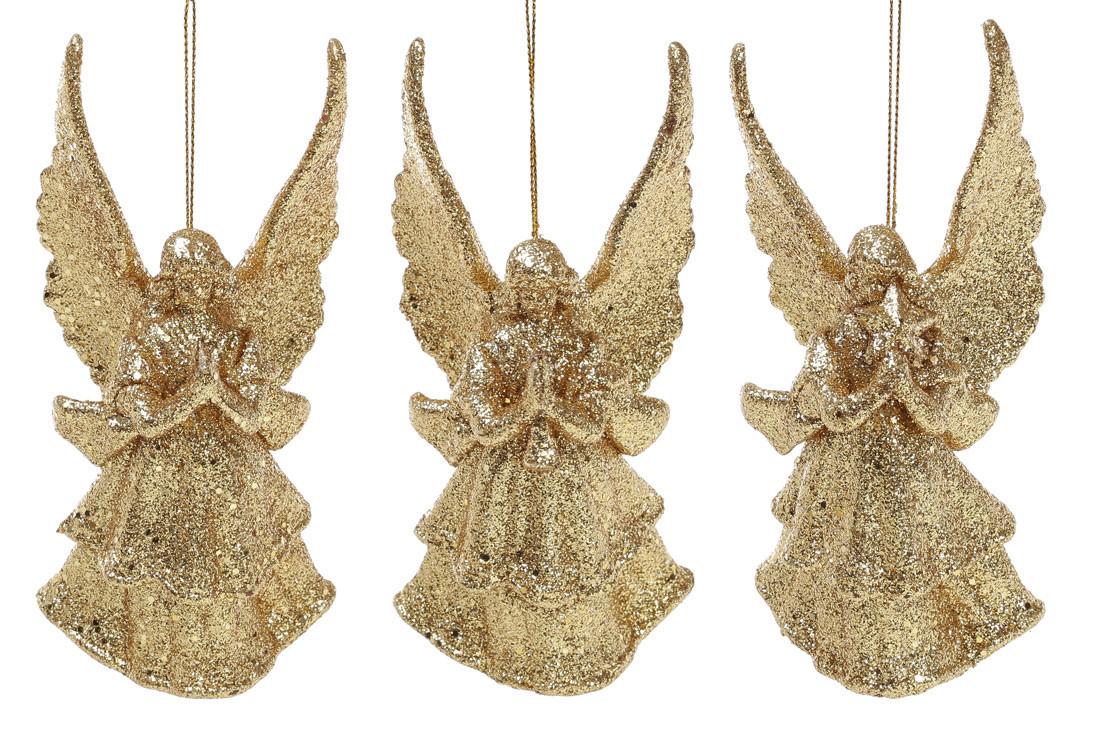 Елочное украшение Ангел, 3 дизайна, цвет - золотой глитер 113-412