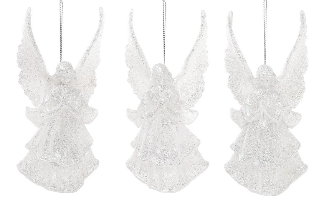 Елочное украшение Ангел, 3 дизайна, цвет - серебряный глитер 113-410