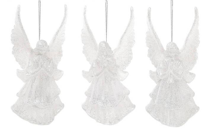 Елочное украшение Ангел, 3 дизайна, цвет - серебряный глитер 113-410, фото 2