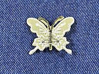 Нашивка Бабочка белая люрекс 40x35 мм