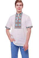 Сорочка чоловіча Волошки (льон білий)