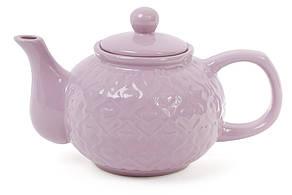 Чайник с рельефным орнаментом Сердца, 1000мл, цвет - глубокий фиолет 593-231