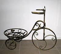 Кованая подставка для цветов Велосипед 1 большой черный