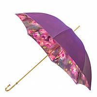 Зонт-трость Pasotti 189-56896/1 фиолетовый с розовыми пионами под куполом