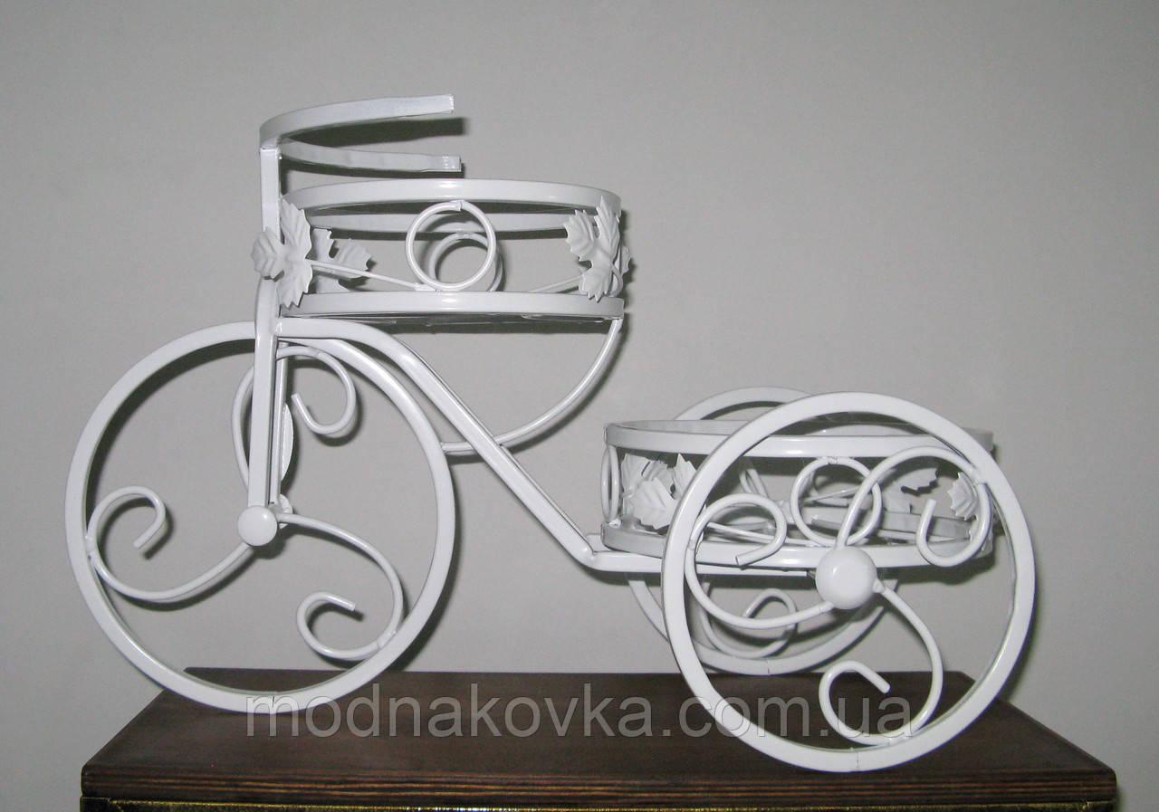 Кованая подставка для цветов Велосипед 2 белый