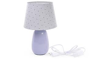 Лампа настольная 31см с керамическим основанием и тканевым абажуром, цвет - светло-фиолетовый 242-145