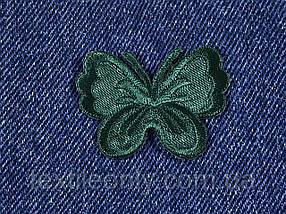 Нашивка бабочка маленькая цвет зеленый 43х33 мм