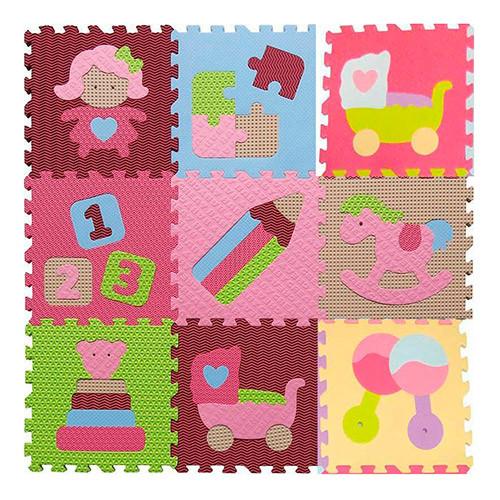 Коврик Мозаика M 2631  EVA,игрушки,9дет(32-32см,10мм),6текстур,пазл,в