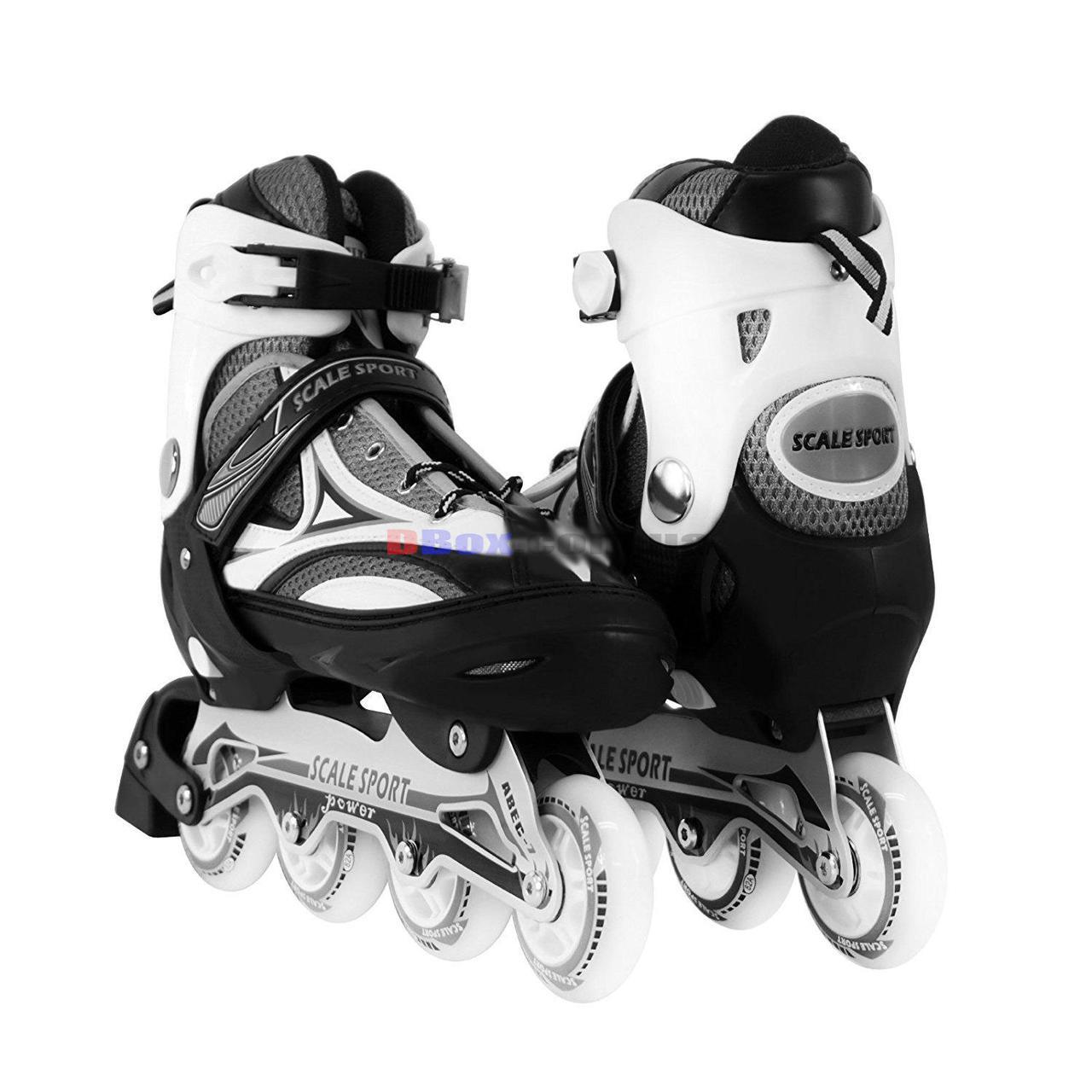 Ролики детские раздвижные Scale Sports Power - USA полиуретановые колеса 80мм произведено в США Белый (2T3002/41-44/WT)