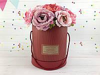 "Круглая коробка для цветов ""Coucher"" красная (набор из 5 шт)"