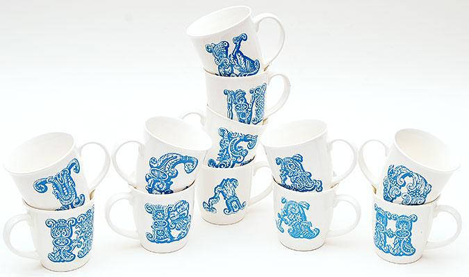 Кружка фарфоровая 425мл Первая буква имени, цвет - голубой, 10 видов 335-19, фото 2