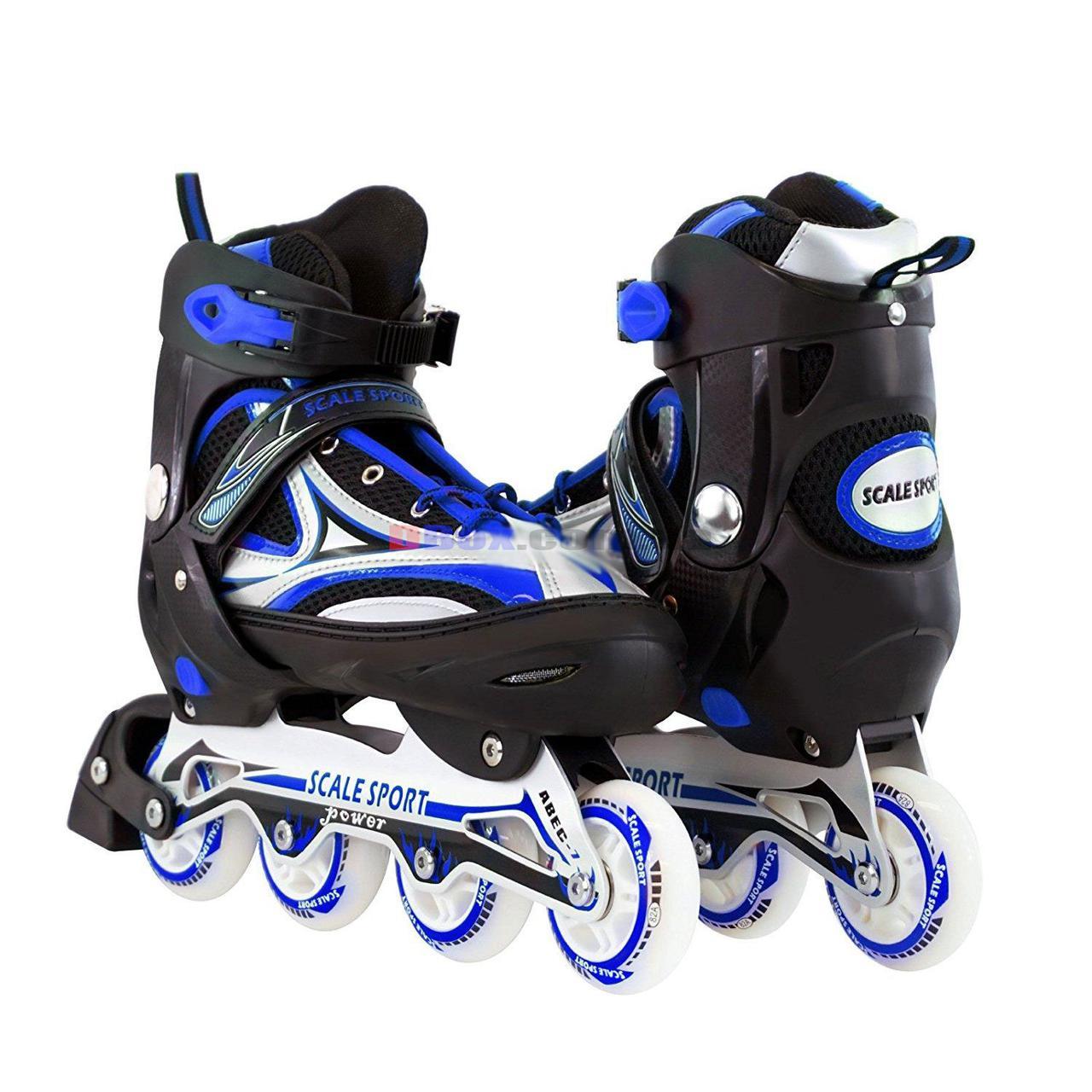 Ролики детские раздвижные Scale Sports Power - USA полиуретановые колеса 80мм произведено в США Синий (2T3002/41-44/BL)
