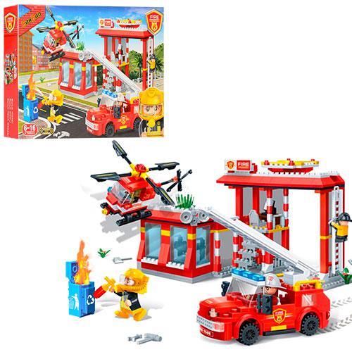 Конструктор BANBAO 7102  пожарная станция,машинка,вертолет,фигурки4шт,
