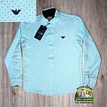 Яркий нарядный костюм Armani для мальчика 2-3 года: голубая или мятная рубашка и темно-синие брюки, фото 3