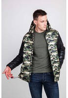 Двухцветная, камуфляжная, стёганая мужская куртка с цельным капюшоном. :010-2