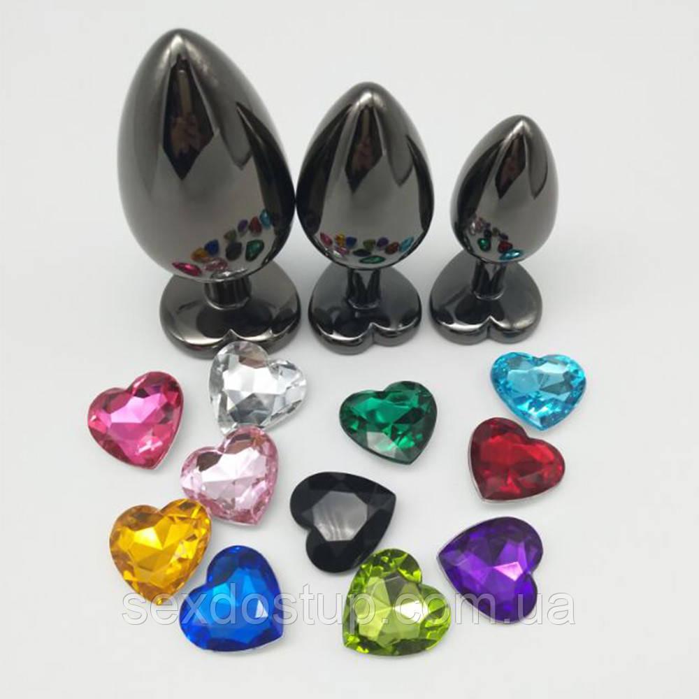 Анальная пробка с кристаллом в виде сердца