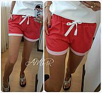 Женские летние шорты с карманами, на резинке, двунитка,42-44, 44-46, бордо, красный, серый, синий, джинс, фото 1