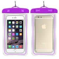 Водонепроницаемый чехол для смартфона Aqualight светящийся фиолетовый, фото 1