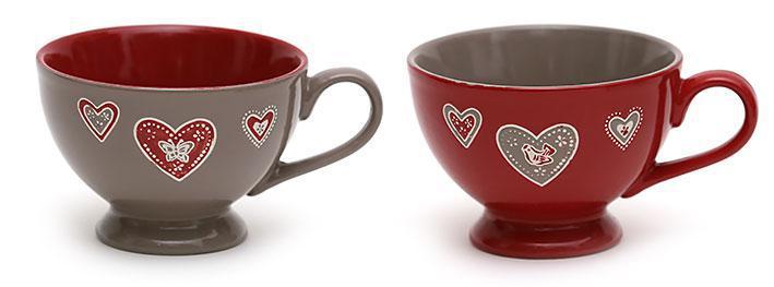Кружка суповая керамическая Сердечки 650мл, 2 вида 583-217