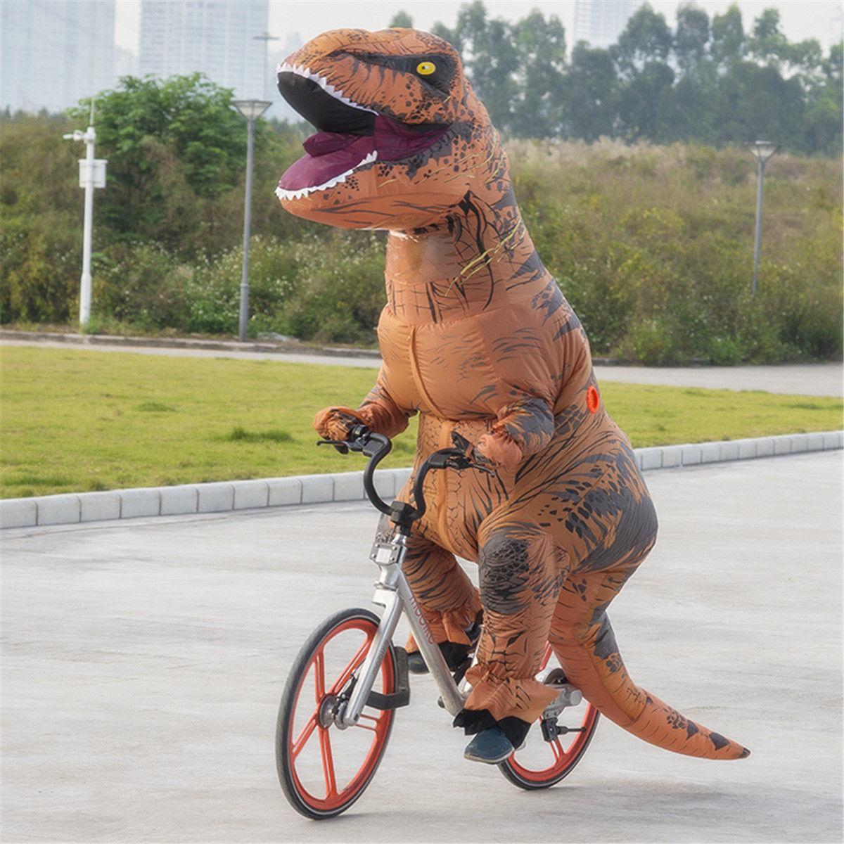 Надувной Костюм Динозавра (Тиранозавра, Костюм Тирекса) T-REX для взрослого Коричнево-оранжевый 220 см