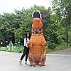 Надувной Костюм Динозавра (Тиранозавра, Костюм Тирекса) T-REX для взрослого Коричнево-оранжевый 220 см, фото 2