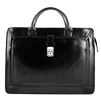 Сумка-портфель Bottega Carele BC802 кожаная черная унисекс