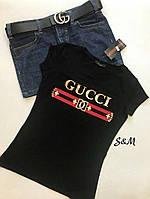Женская летняя футболка Гуччи,42-46, турецкий трикотаж,черный, белый, красный, хаки, фото 1