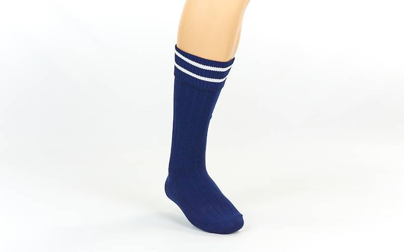 Гетры футбольные юниор темно-синие с белой полосой CO-5602-DB