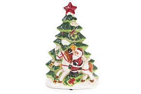 Декоративная музыкальная статуэтка Санта у елки с LED-подсветкой 30см (2 режима - подсветка и подсветка с музыкой) 827-417