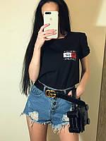Женская футболка Томми, трикотаж хб, 42-46, белый, карный, черный, розовый, фото 1