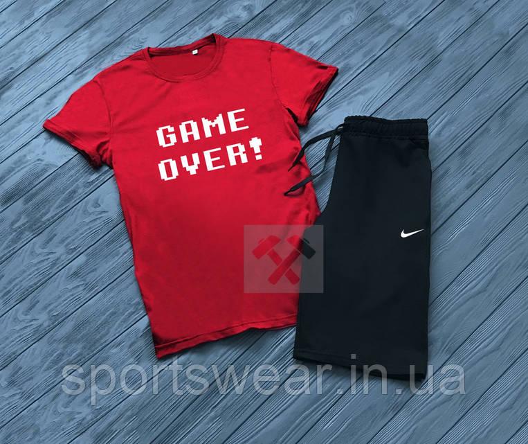 """Мужской комплект футболка + шорты Nike черного и красного цвета """""""" В стиле Nike """""""""""