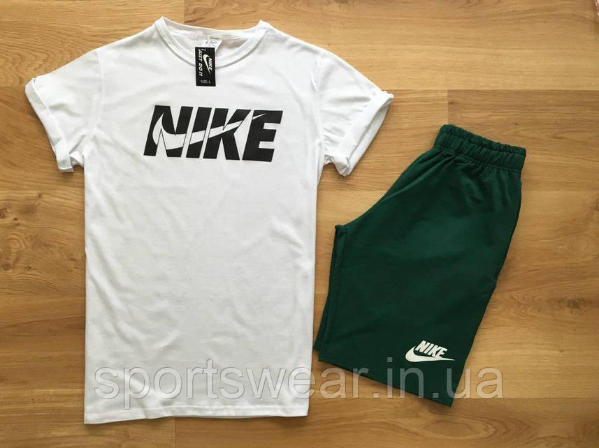 """Мужской комплект футболка + шорты Nike белого и зеленого цвета """""""" В стиле Nike """""""""""