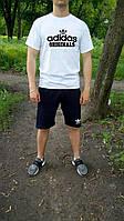 """Мужской комплект футболка + шорты Adidas белого и синего цвета """""""" В стиле Adidas """""""""""