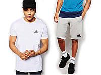 """Мужской комплект футболка + шорты Adidas белого и серого цвета """""""" В стиле Adidas """""""""""