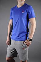 """Мужской комплект футболка + шорты Reebok синего и серого цвета """""""" В стиле Reebok """""""""""