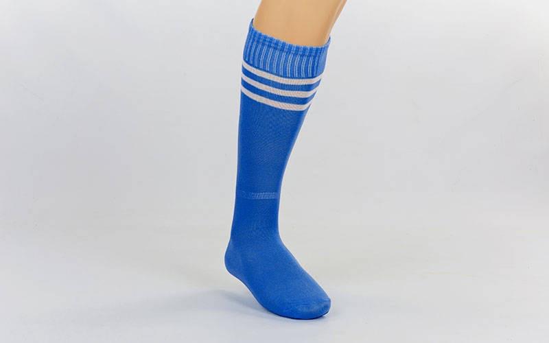 Гетры футбольные взрослые синие с белой полосой CO-120-B (реплика)