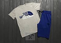 """Мужской комплект футболка + шорты the north face серого и синего цвета """""""" В стиле The North Face """""""""""