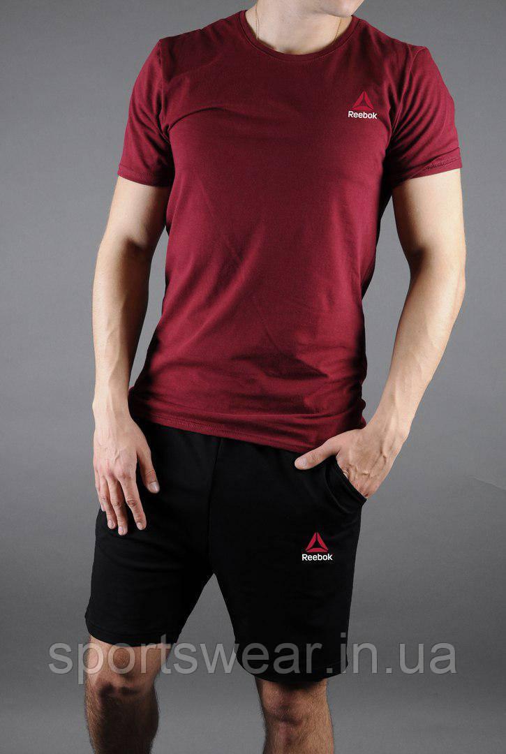 Мужской комплект футболка + шорты Reebok красного и черного цвета