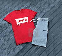 Мужской комплект футболка + шорты Levis красного и серого цвета