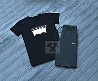 Мужской комплект футболка + шорты Levis черного и серого цвета