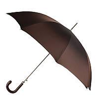 Зонт-трость Pasotti 478-OXFORD/17 коричневый с кожаной ручкой