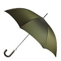 Зонт-трость Pasotti 478-OXFORD/10 хаки с кожаной ручкой