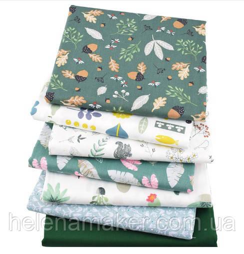"""Ткань для пэчворка, скрапбукинга, рукоделия в зеленых тонах """"Лесной"""" (7 отрезов 40*50 см)"""