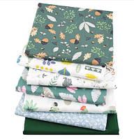 """Ткань для пэчворка, скрапбукинга, рукоделия в зеленых тонах """"Лесной"""" (7 отрезов 40*50 см), фото 1"""