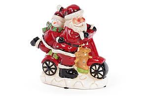 Декоративная музыкальная статуэтка Санта на мопеде с LED-подсветкой 19см (2 режима - подсветка и подсветка с музыкой) 827-409