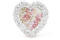Фоторамка настольная из искусственного камня в форме сердца Розы цвет - состаренный белый (493-588)