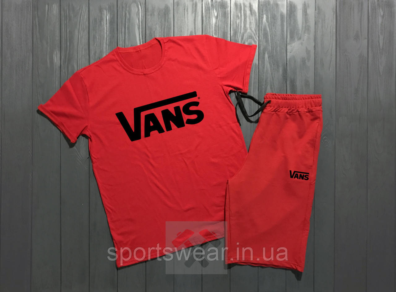"""Мужской комплект футболка + шорты Vans красного цвета """""""" В стиле Vans """""""""""